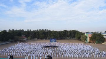 MOST STUDENTS PERFORMED PATRIOTIC DANCE WITH INDIAN FLAG FORMATION